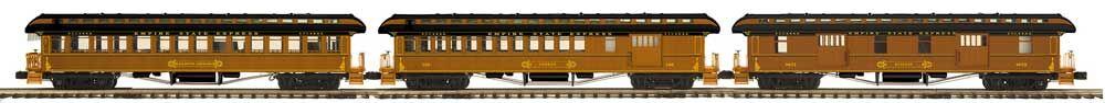 MTH 20-62078 New York Central 3-Car 64' Woodsided Passenger Add-On Set