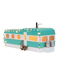 MTH 30-90612 Turquoise & White Stainless Mobile Home w/LED Christmas Lights